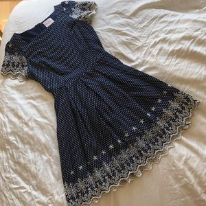 ModCloth Moon - navy with white embroidery - S